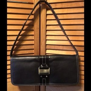 Anne Klein Black Leather Shoulder Bag